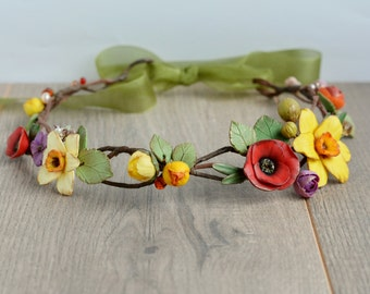 Flower hair wreath Wedding flower crown Spring floral crown Bridal hair wreath Wedding accessories Daffodil hair wreath Wedding head piece