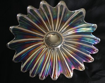 Vintage Federal Celestial Iridescent Centerpiece Bowl. Made By Federal Glass Company 1970's.
