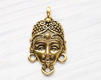Goddess Face Connector, Indian Goddess Connector, Spiritual, Ancient Culture, Antique Gold, Made in the USA, 28x16mm, 1Pc - AB48