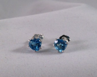 Heart shaped Blue Topaz Gemstone Earrings