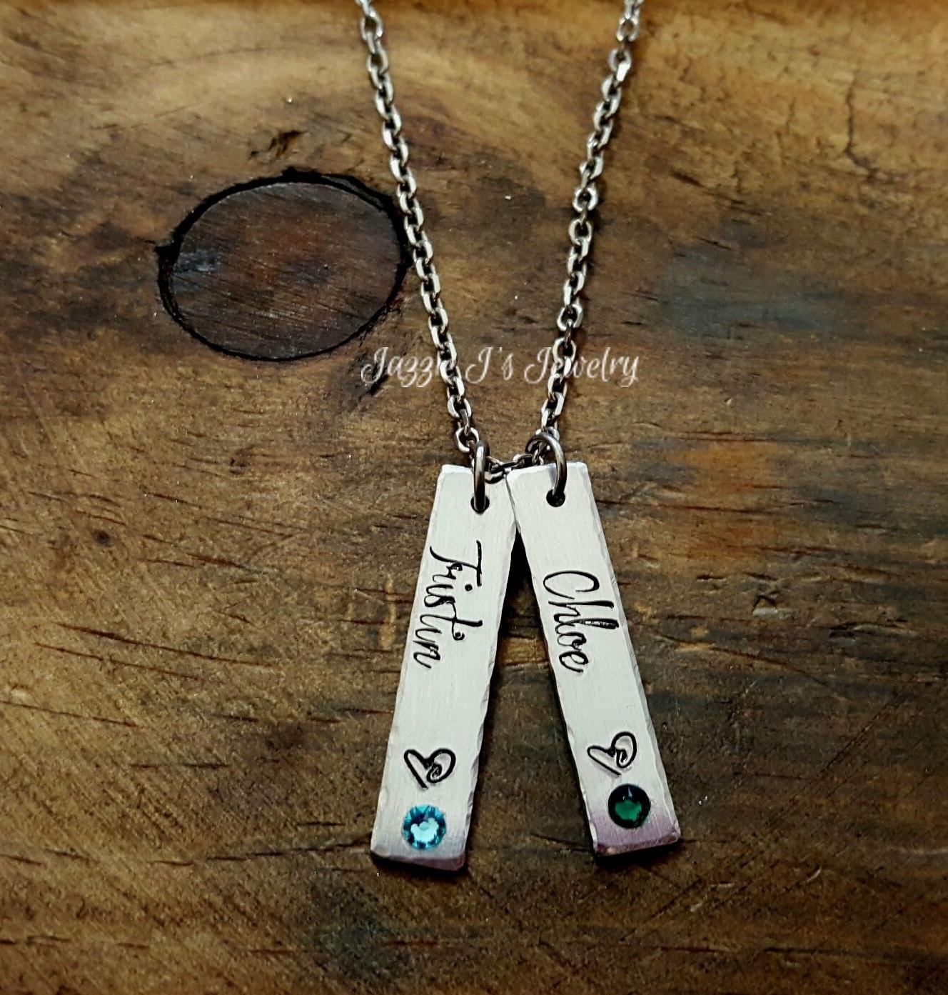 mother 39 s necklace name charms necklace vertical bar. Black Bedroom Furniture Sets. Home Design Ideas
