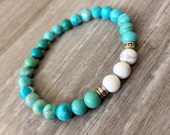 Genuine Healing Bracelet, Turquoise Bracelet, Howlite Bracelet, Beaded Jewelry, Women's Bracelet, Healing Mala, Wrist Mala, Tumblr, Bracelet