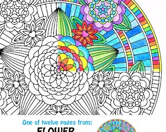 mandala coloring page flowers of love adult coloring page for art therapy and meditation - Art Therapy Coloring Pages Mandala