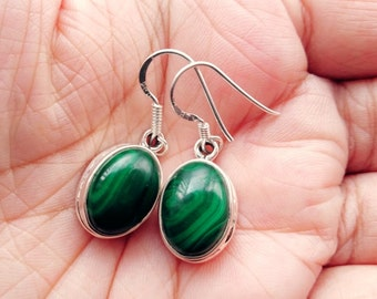 Malachite Earrings - Sterling Silver Malachite Earrings -  Gemstone Earrings - Malachite Jewelry- Green Earrings - Everyday Earrings