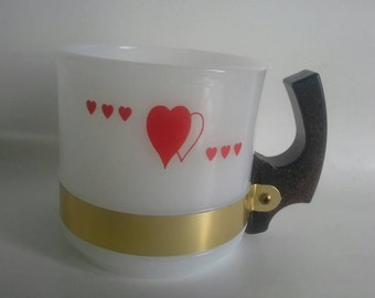 "Vintage Siesta Ware Card Suit ""Hearts"" Wooden Handle Coffee Mug"