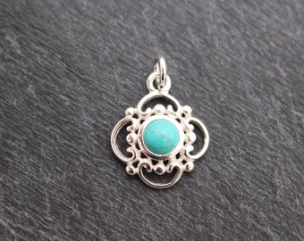 Turquoise Pendant, Sterling Silver, Turquoise Charm, Genuine Turquoise, Real Turquoise, Small Turquoise, Small Pendant, Stone Pendant, 925