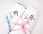 Personalised Baby Towel New Baby Gift in Baby Gingham Pink or Blue with embroidered Baby Name and Pram Logo