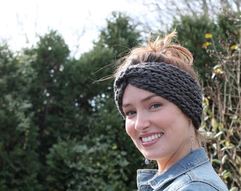 Knotted Reversible Ear Warmer | Charcoal