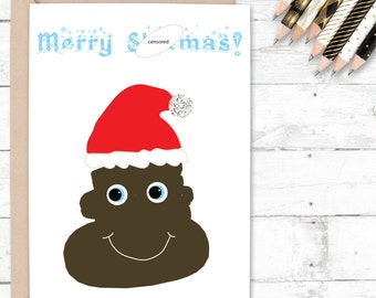 Joke christmas card, poo christmas card, s*it christmas card, xmas card, merry christmas card, poo card, funny christmas card for friend.