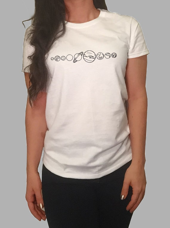 Planet Solar System T-shirt White/Gray Women's by TheSourPeach