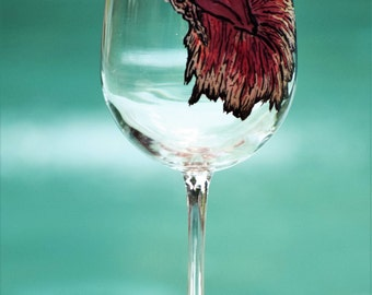 Red Fighting Fish Glass
