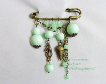 mint brooch,ACTION !!! 1 + 1 = 3 If you order two brooches, you get third one for free!,handmade brooch,safety pin brooch