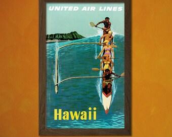 Hawaii Travel Poster - Vintage Travel Prints Hawaii Poster Hawaii Travel Poster Travel Home Decor Hawaii Print  t
