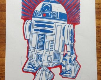 R2D2 Lino print