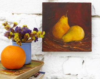 Kitchen Art Dining Room Wall Pears Food Painting Vegetable Fruit Still Life Colorful