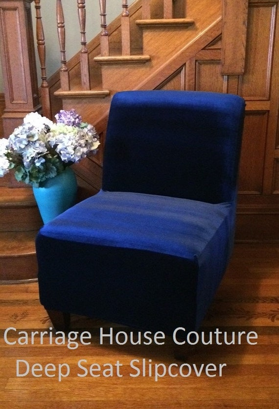 Slipcover Navy Blue Velvet Stretch Chair Cover For Armless