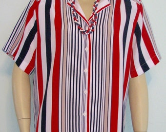 Vintage 4th July Shirt Patriotic Top Allison Daley Size 10 Ladies Stripes