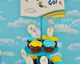 Dr Seuss Oh The Places You'll Go Baby Shower Birthday Wood Cupcake Stand Tower for Birthday of Baby Shower Themed Parties