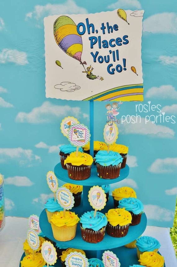 dr seuss oh the places you 39 ll go baby shower birthday wood cupcake