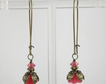 Vintage Style Bronze Fuchsia Pink Czech Glass Flower Long Earrings