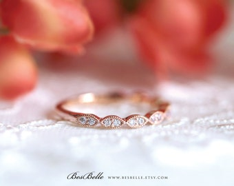 2.0mm Wide Art Deco Wedding Band-Brilliant Cut Diamond Simulant-Stacking Ring-Half Eternity Ring-Rose Gold Plated-Sterling Silver [6053RG-H]