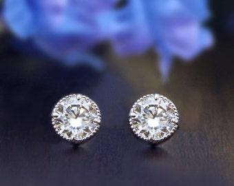 1.20 Carat Solitaire Stud Earrings-Brilliant Cut Diamond Simulant-Bridal Earrings-Wedding Earrings-Daily Earrings-Sterling Silver [2501]