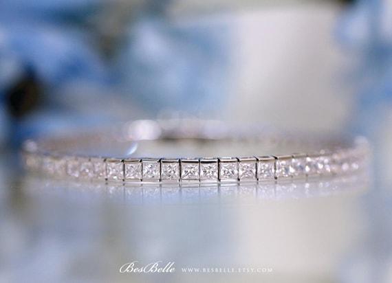 10.26 ct.tw Tennis Bracelet-Princess Cut (3.0mm) Diamond Simulants-Bridal Wedding Bracelet-Solid Sterling Silver [1700]