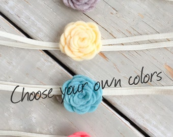 Felt Flower Headband, Baby Headband, Choose your colors, Baby Headband Set, Baby Flower Headband, Flowers, Felt Headband, Flower Headband