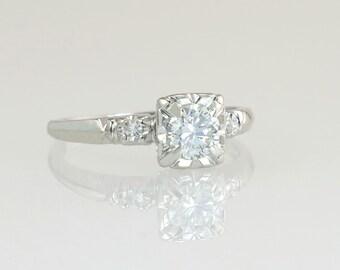 Antique Art Deco .40ct Genuine Diamond 14K White Gold Engagement Ring 2.2g