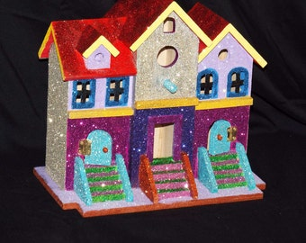 Bird house, Victorian mansion,  painted, acrylic paint, glittered,