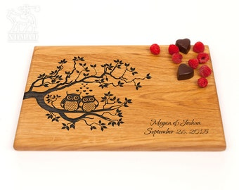 Personalized Cutting Board Wedding Gift, Custom Wedding Gift For Couple, Owls, Anniversary Gift, Housewarming Gift, Bridal Shower Gift