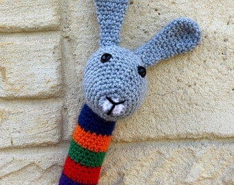 Rattle, handmade, crocheted toy bunny rattle for babies in grey, white, yellow, green, red, purple, orange and green