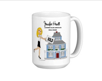 Real Estate Agent Mug - Personalized - Blonde,Brunette, Black Hair, Auburn,African American,Gray Hair Buy ANY 4 or more pads- FREE Shipping