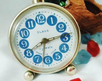 Vintage Alarm Clock ,Soviet Clock, Russian Clock , Mechanical Clock , Blue Retro clock , Slava,Vintage Russian Alarm Clock Soviet SLAVA,USSR