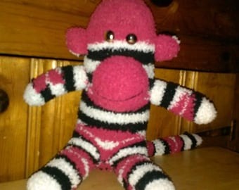 Red/Black/White with Red Kisses Striped Sock Monkey