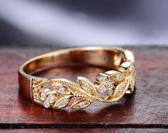 Milgrain Marquise and Dot Leaf Design 18k Yellow Gold Diamond Engagement Ring Wedding Band Half Eternity Birthday Anniversary Valentine's