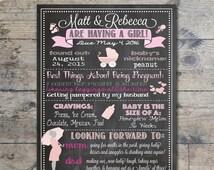 Baby Shower Chalkboard Sign, It's A Girl, Custom Baby Shower Poster, Baby Shower Keepsake, Baby Shower Decor - Pink & Gray { DIGITAL FILE}