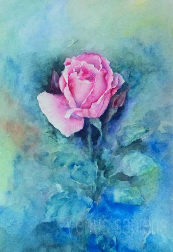 Original Watercolor Painting Pink Rose Watercolor Etude