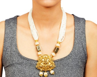 Temple Jewelry - Beautiful Laxmi Pendant Necklace Set