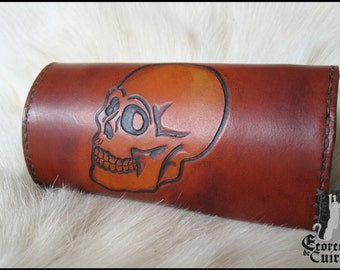 Tobacco dark pattern leather pouch omen / Leather tobacco pouch skull skull