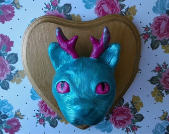 Small Faux Taxidermy Cat with Antlers