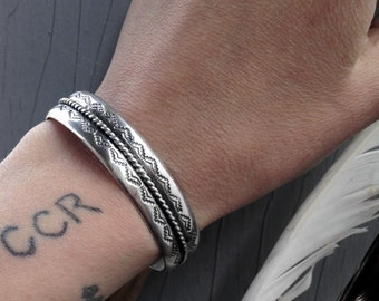 Double Stamped Silver Cuff- Heavyweight Sterling Silver Cuff Bracelet- Made to Order