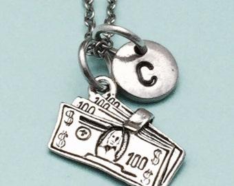Money necklace, money charm, cash necklace, personalized necklace, initial necklace, initial charm, monogram