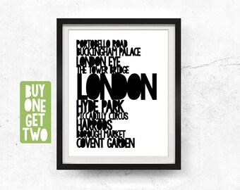 London typography, Printable artwork, London art print, Travel poster, London poster, Black white, Typography wall art, 8x10, 11x14, 16x20