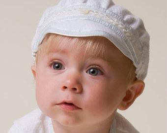 Harrison White Cotton Hat, Baby Boys