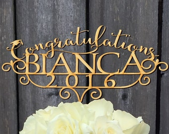 Graduation Personalized with Year, Custom Wood Graduation Topper, Congratulations Party Cake Topper