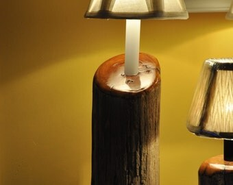 Cedar Driftwood Accent/Porch Lamp with Varnished Highlights and Candelabra Base with Bulb