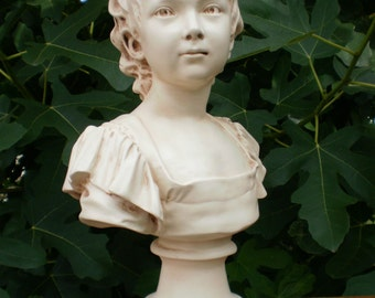 Large bust statue Claudine Houdon by her father Jean-Antoine Houdon