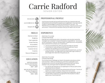 resume template professional resume template cv template for word and pages one - Professional Resume