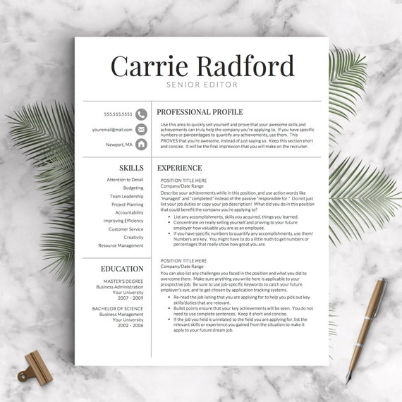 resume template professional resume template cv template for word and pages one two and three page resume instant download resume - Words Resume Template